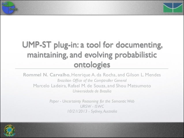 UMP-ST plug-in: a tool for documenting, maintaining, and evolving probabilistic ontologies Rommel N. Carvalho, Henrique A....