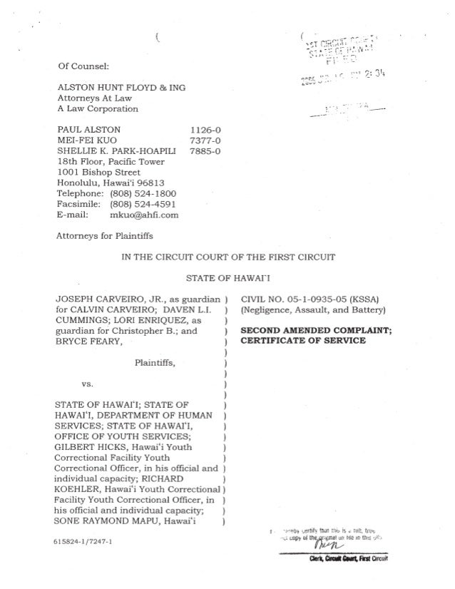 Hawaii Youth Correctional Facility lawsuit