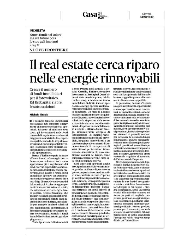 Il Real Estate cerca riparo nelle energie rinnovabili