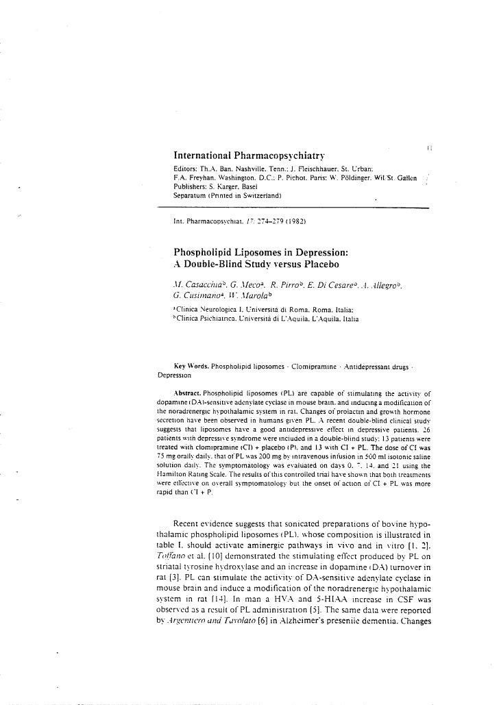 Applicazione di liposomi di fosfolipidi nella depression: studio in doppio cieco rispetto al placebo