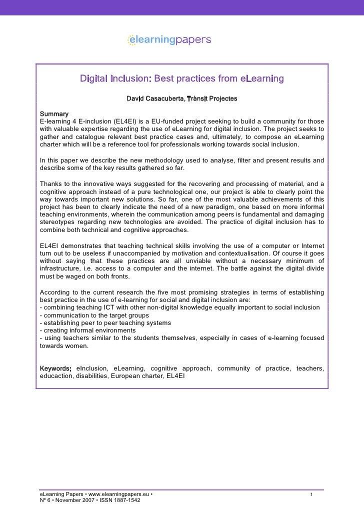 Digital Inclusion: Best practices from eLearning                                  David Casacuberta, Trànsit Projectes  Su...