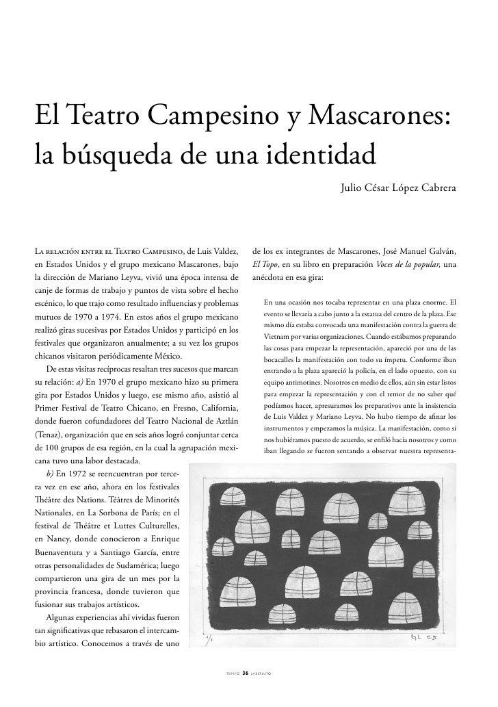 El Teatro Campesino y Mascarones: la búsqueda de una identidad                                                            ...