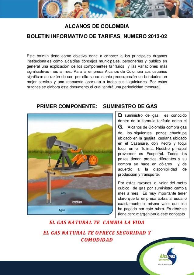 ALCANOS DE COLOMBIABOLETIN INFORMATIVO DE TARIFAS NUMERO 2013-02Este boletín tiene como objetivo darle a conocer a los pri...