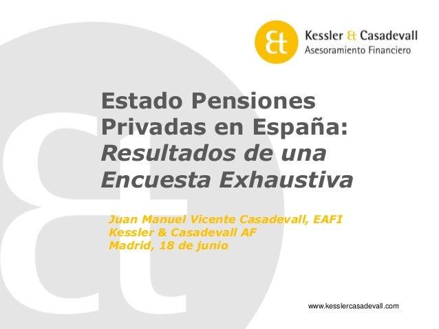 Estado Pensiones Privadas en España:  Resultados de una  Encuesta Exhaustiva