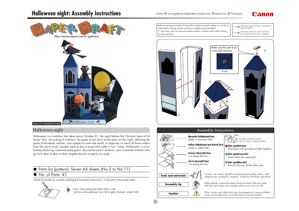 Halloween night: Assembly Instructions                                                                Canon ® is a registe...