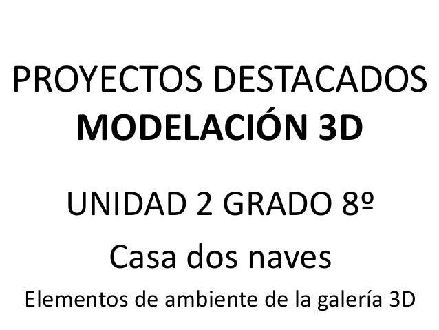 PROYECTOS DESTACADOSMODELACIÓN 3DUNIDAD 2 GRADO 8ºCasa dos navesElementos de ambiente de la galería 3D