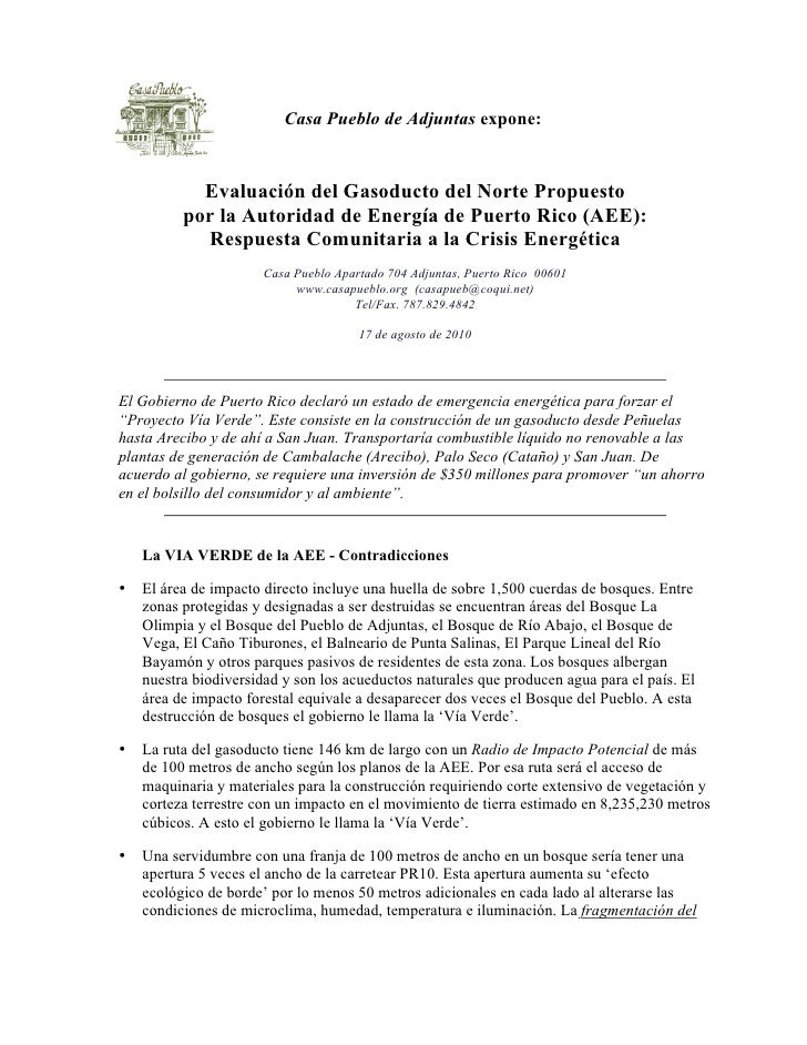 Casa Pueblo de Adjuntas expone:               Evaluación del Gasoducto del Norte Propuesto           por la Autoridad de E...