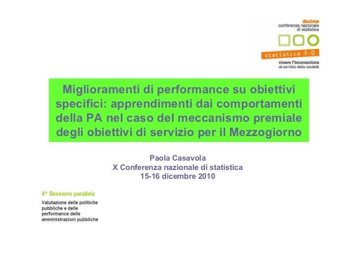 Miglioramenti di performance su obiettivispecifici: apprendimenti dai comportamentidella PA nel caso del meccanismo premia...