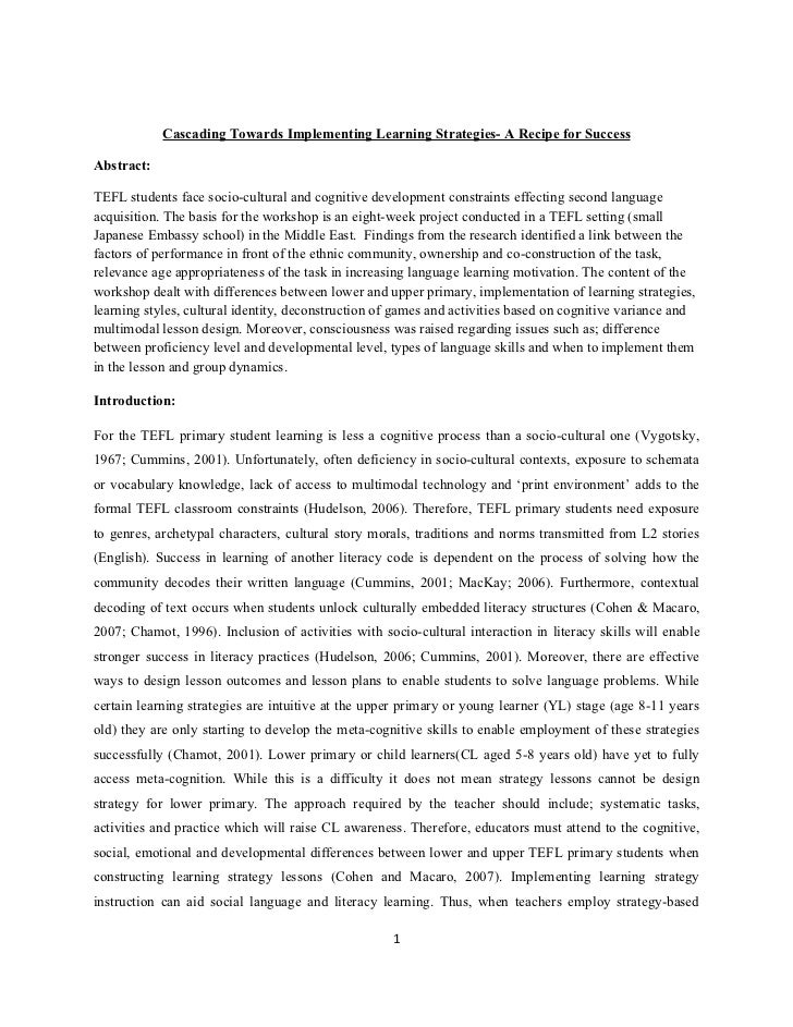 Cascading Towards Implementing Learning Strategies- A Recipe for SuccessAbstract:TEFL students face socio-cultural and cog...