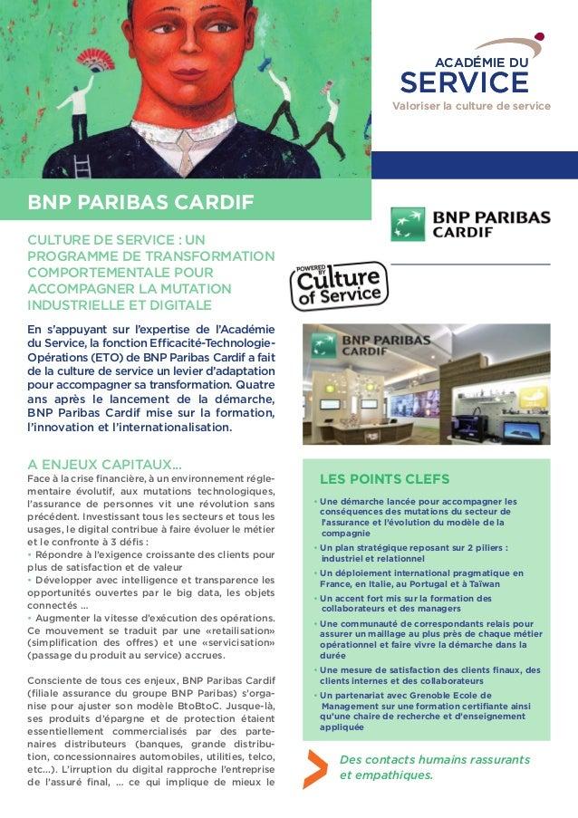 ACADÉMIE DU  SERVICE  Valoriser la culture de service  CAS CLIENT  BNP PARIBAS CARDIF  CULTURE DE SERVICE : UN  PROGRAMME ...