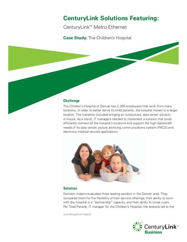 CenturyLink Case Study Childrens Hospital