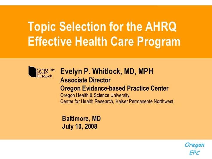 AHRQ's Effective Health Care Program