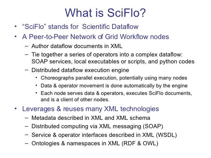 "What is SciFlo? <ul><li>"" SciFlo"" stands for  Scientific Dataflow </li></ul><ul><li>A Peer-to-Peer Network of Grid Workflo..."