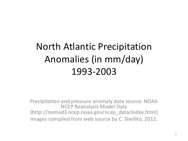 North Atlantic Precipitation Anomalies (in mm/day) 1993-2003 Precipitation and pressure anomaly data source: NOAA NCEP Rea...