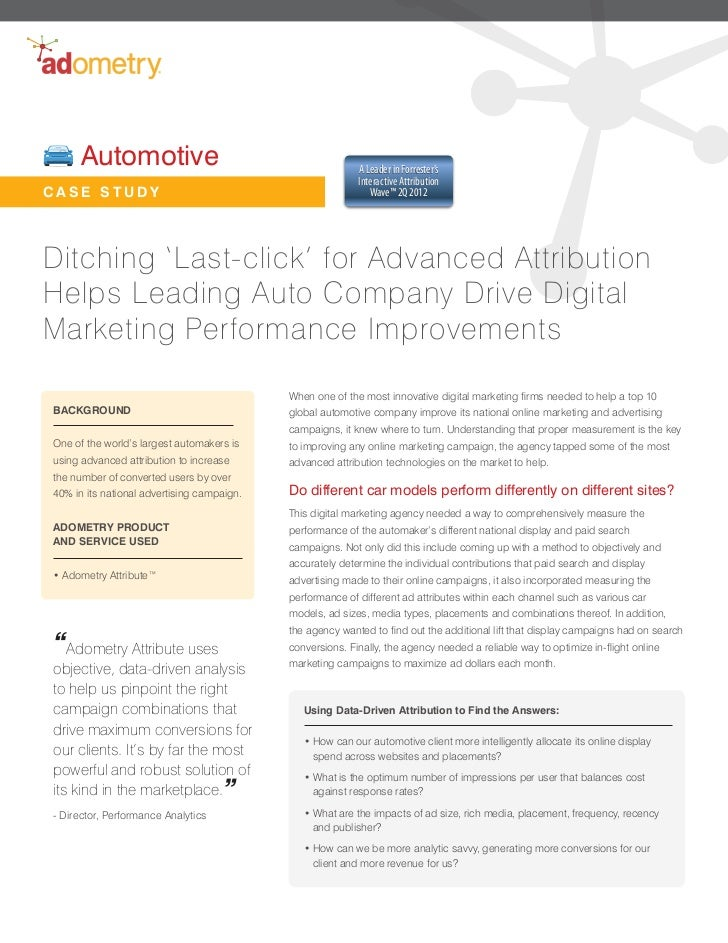Marketing Case Study - Automotive Company