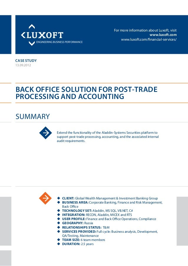 Case study back office solution banking luxoft for global wealth management group