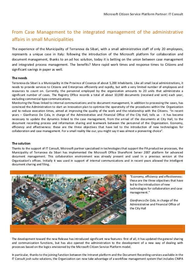 Case study Municipality of Terranova Da Sibari