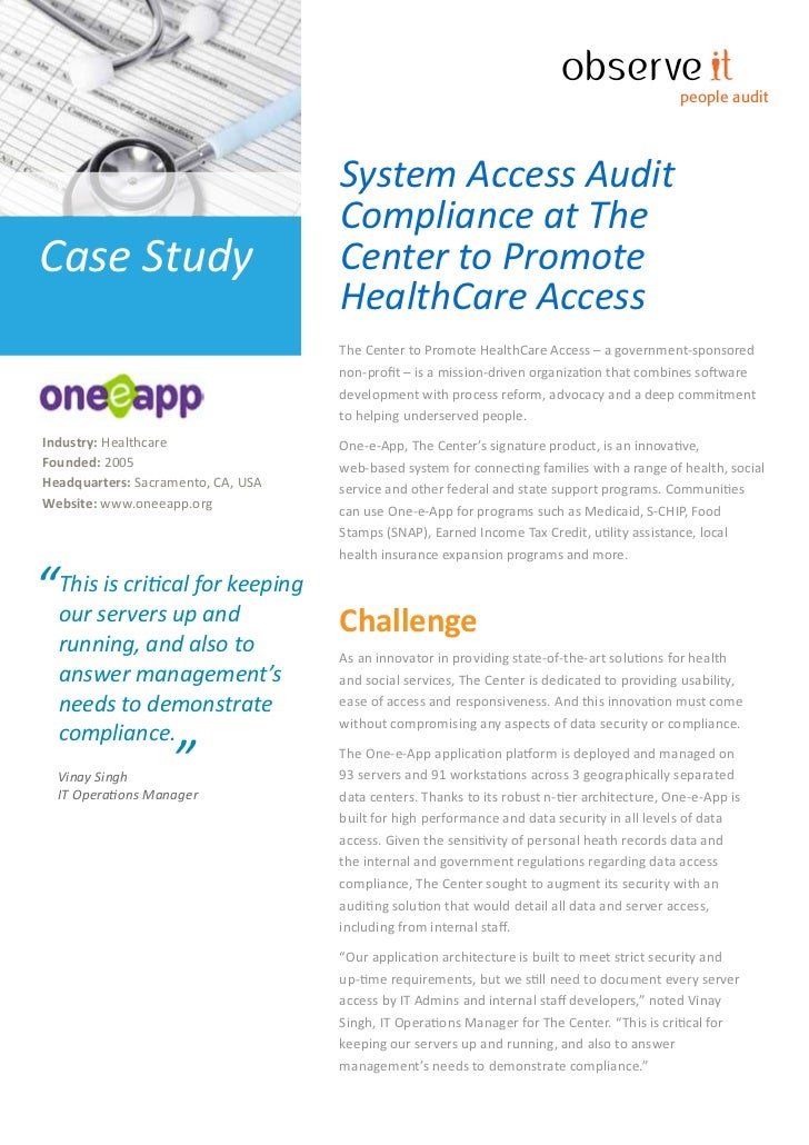 Case Study - System Access Audit Compliance at The Center to Promote HealthCare Access