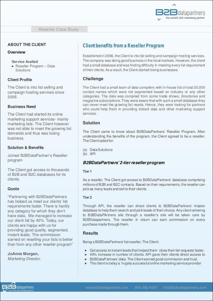 Reseller Program Template Client Benefits From Reseller Program