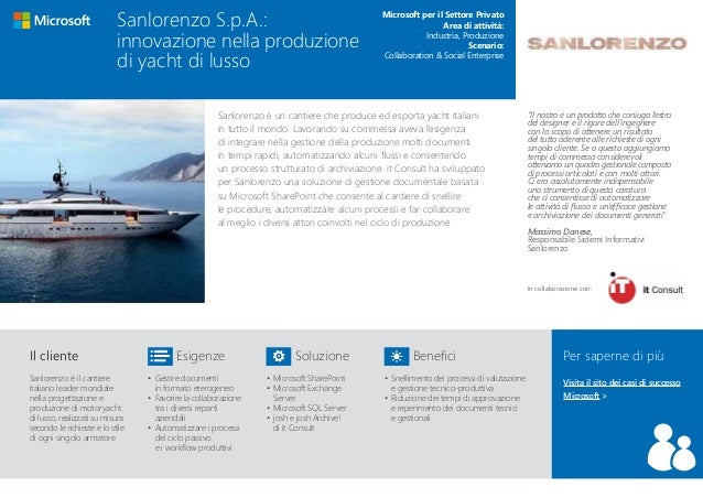 Sanlorenzo è un cantiere che produce ed esporta yacht italiani in tutto il mondo. Lavorando su commessa aveva l'esigenza d...