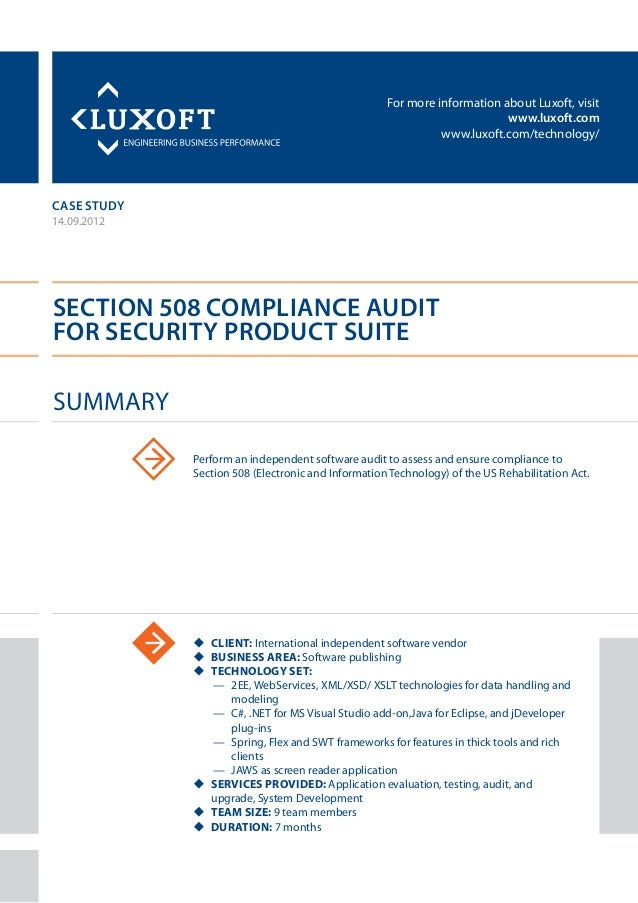 For more information about Luxoft, visitwww.luxoft.comwww.luxoft.com/technology/case studySection 508 Compliance Auditfor ...