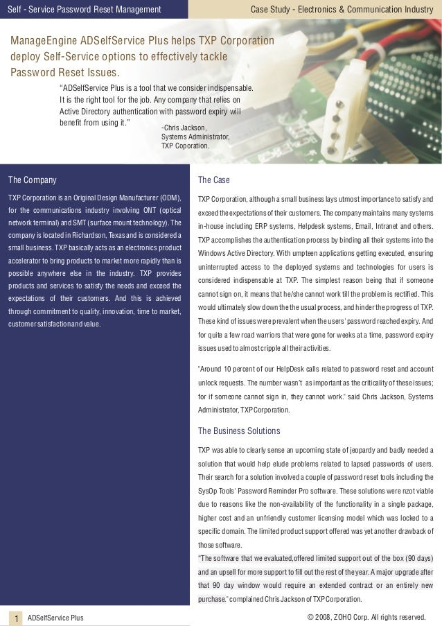 Case Study - Electronics & Communication Industry  Self - Service Password Reset Management  ManageEngine ADSelfService Pl...