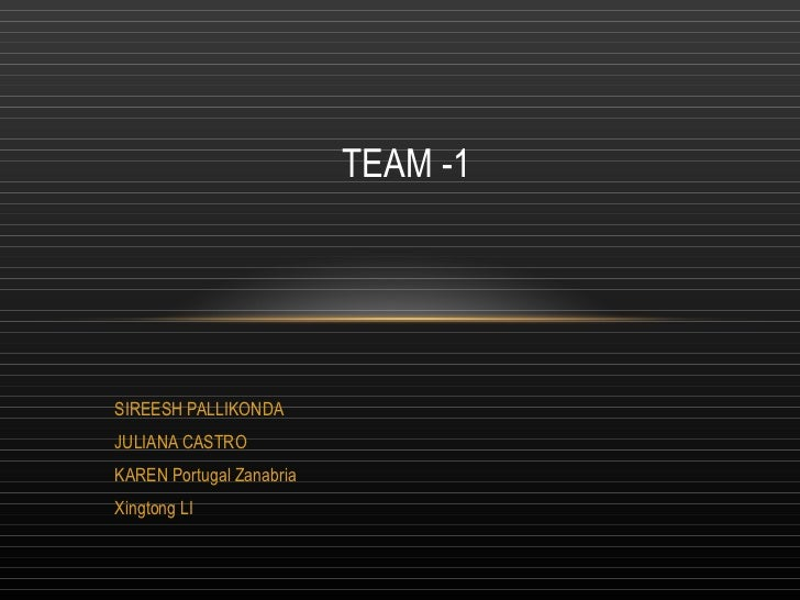 SIREESH PALLIKONDA JULIANA CASTRO KAREN Portugal Zanabria Xingtong LI TEAM -1