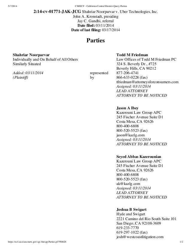 5/7/2014 CM/ECF - California Central District-Query Parties https://ecf.cacd.uscourts.gov/cgi-bin/qryParties.pl?584626 1/2...
