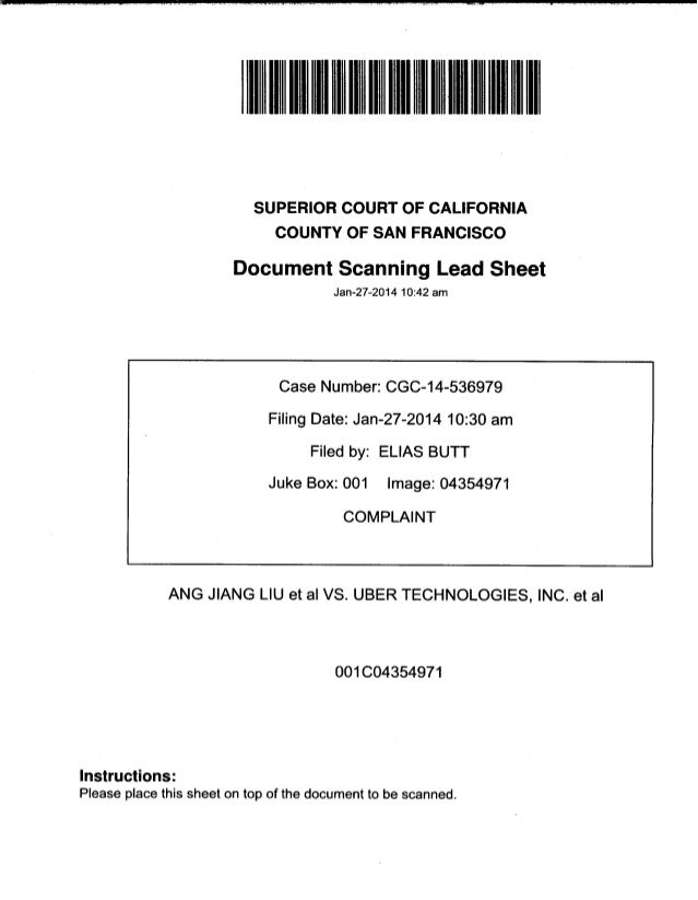 Uber Lawsuit Documents: Case13 ang jiang liu et al vs. uber technologies-wrongful-death