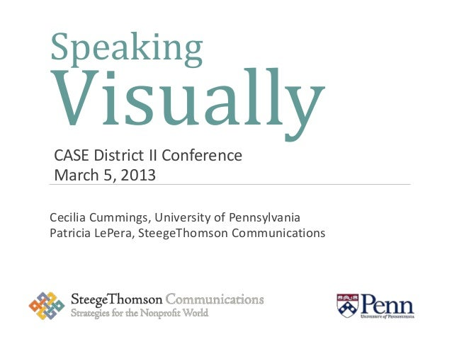 SpeakingVisuallyCASE District II ConferenceMarch 5, 2013Cecilia Cummings, University of PennsylvaniaPatricia LePera, Steeg...