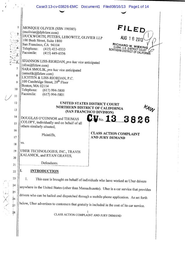 Uber Lawsuit Documents: Case6 b-o-connor-colopy-v-uber