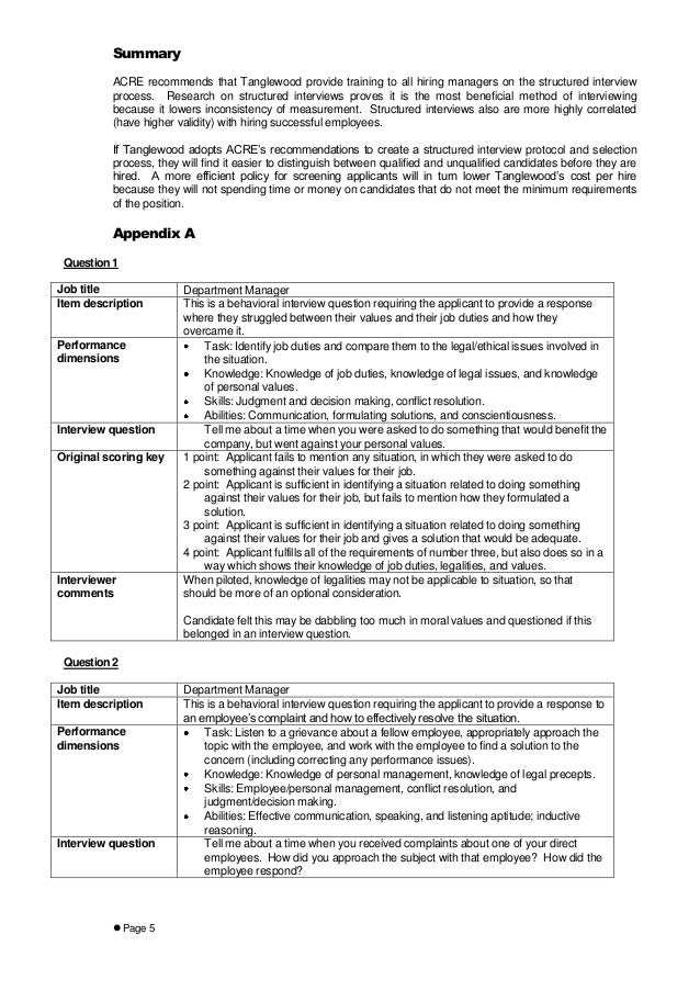 tanglewood case 6 interview Tanglewood case 6 develop initial interview questions they would like 5 behavioral interview questions and 5 situational interview questions each interview question should have a very specific ksao target as shown in the example.