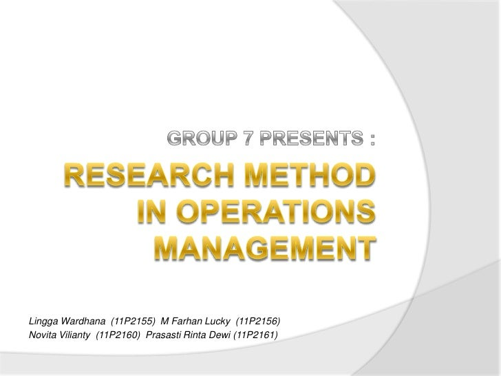 Research papers on operations management