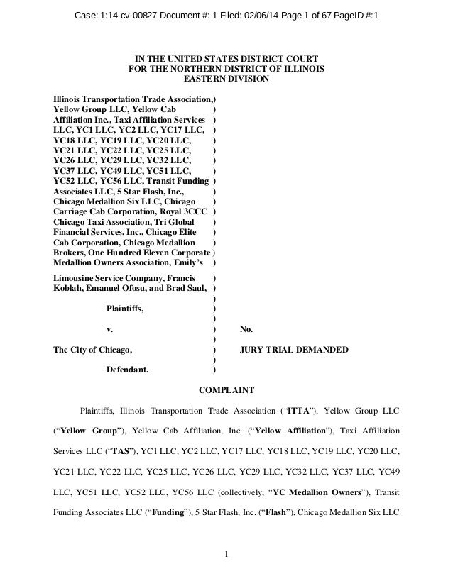 1 IN THE UNITED STATES DISTRICT COURT FOR THE NORTHERN DISTRICT OF ILLINOIS EASTERN DIVISION Illinois Transportation Trade...