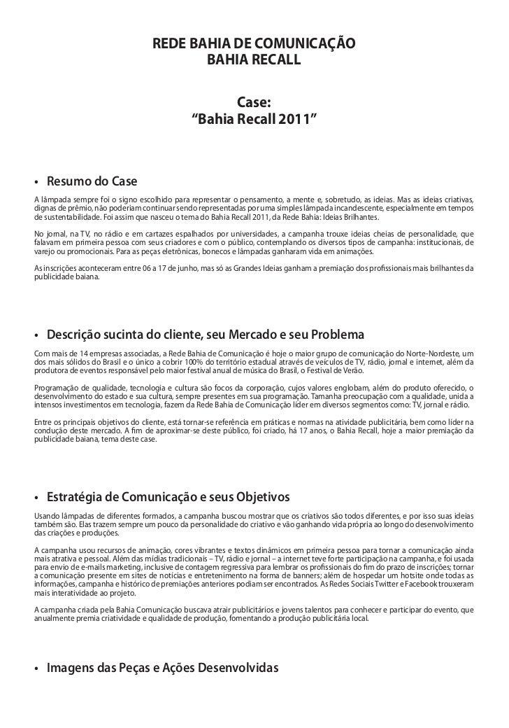 REDE BAHIA DE COMUNICAÇÃO                                           BAHIA RECALL                                          ...