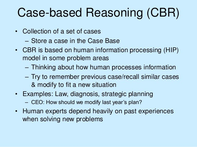 case based reasoning for classification problem Case-based reasoning materials for cs367 cs760 & cs767 (parts adapted with permission from ashwin ram's course at georgia tech) case-based reasoning (cbr) is a family of artificial.