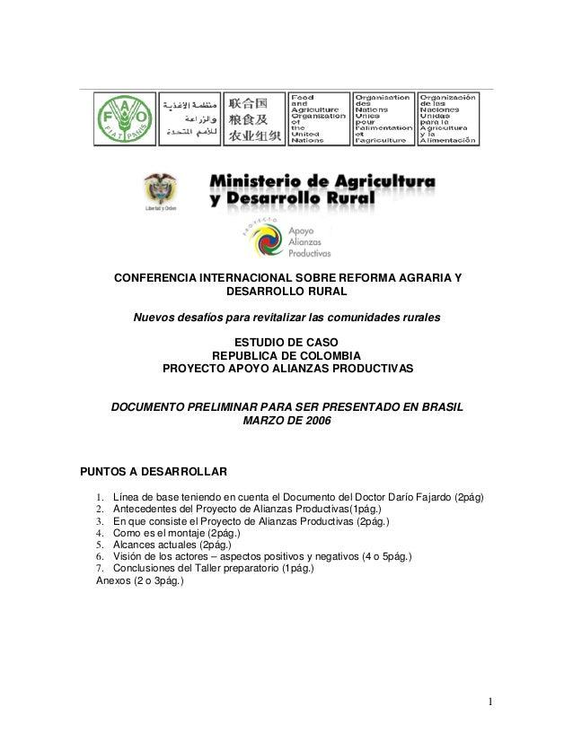 1CONFERENCIA INTERNACIONAL SOBRE REFORMA AGRARIA YDESARROLLO RURALNuevos desafíos para revitalizar las comunidades rurales...