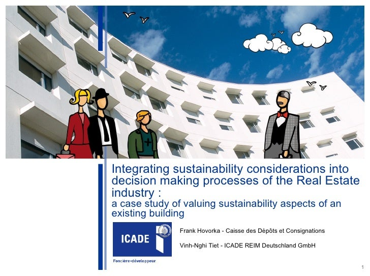 World Sustainable Building Conference – Helsinki 2011               Integrating sustainability considerations into        ...