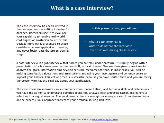 Consulting Interview: Free Sample Consulting Case ...