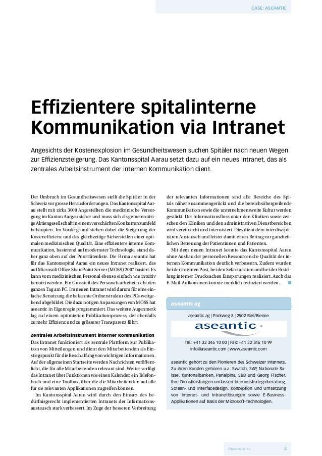 Effizientere spitalinterne Kommunikation via Intranet