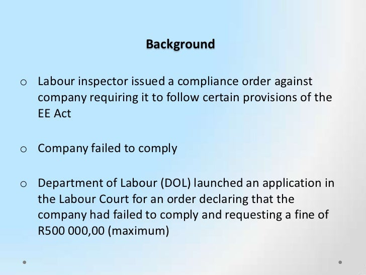 labour court case studies Cape town labour court the case emanates from a challenge to the department of correctional services' employment equity plan trade union solidarity sought.