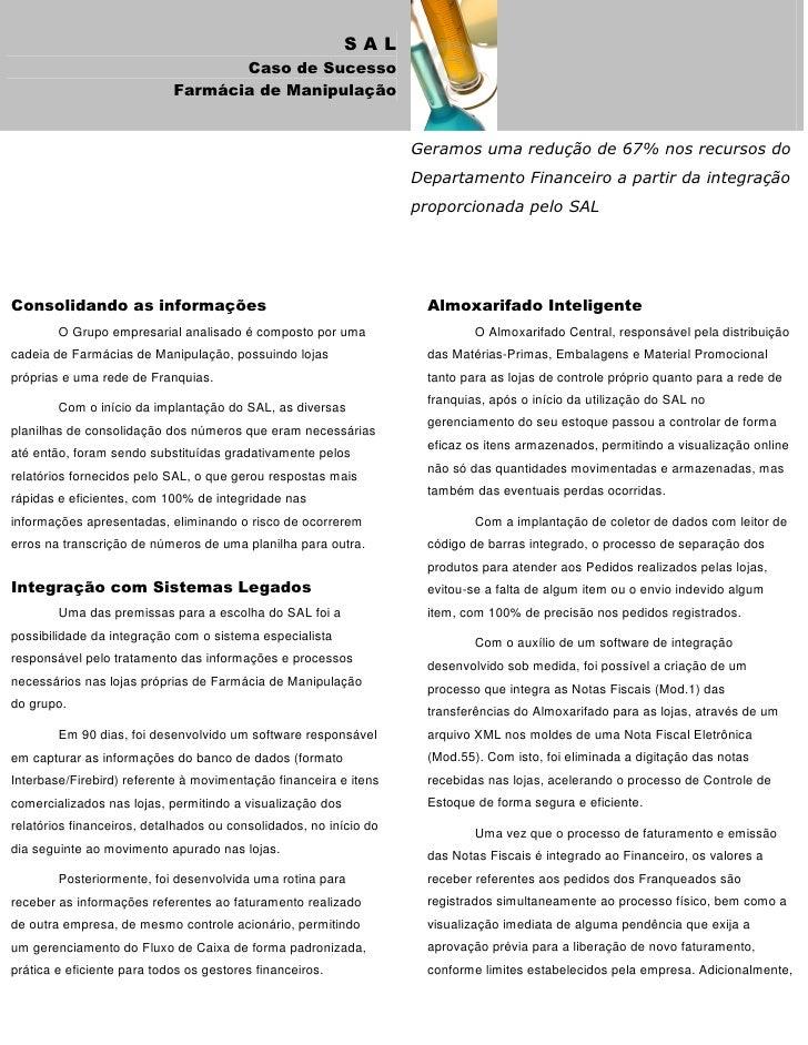 SAL                                    Caso de Sucesso                             Farmácia de Manipulação                ...