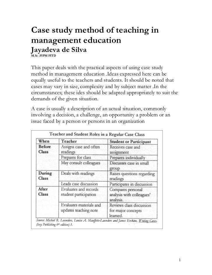 Case method for management training