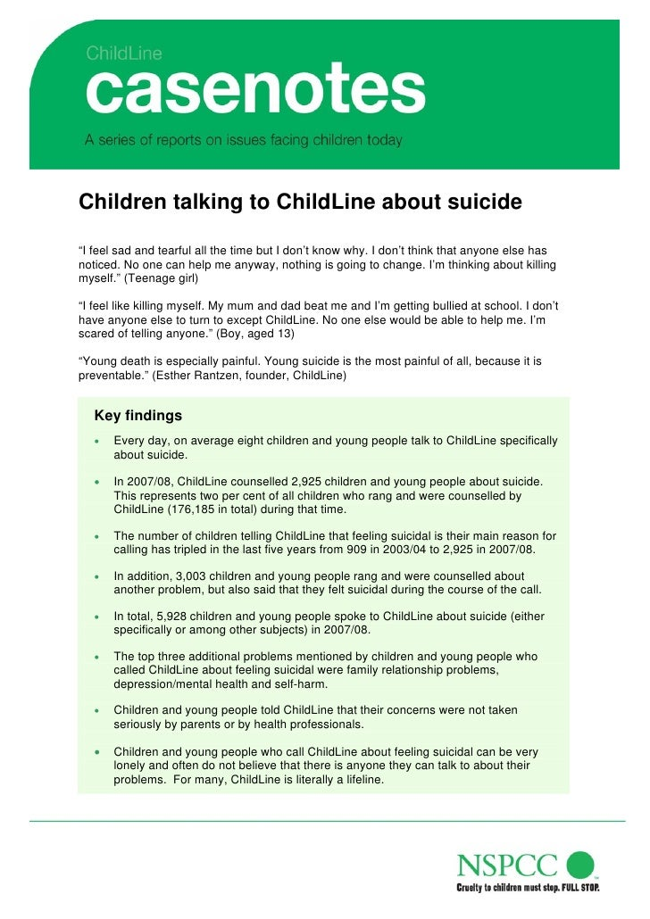 """Children talking to ChildLine about suicide  """"I feel sad and tearful all the time but I don't know why. I don't think that..."""