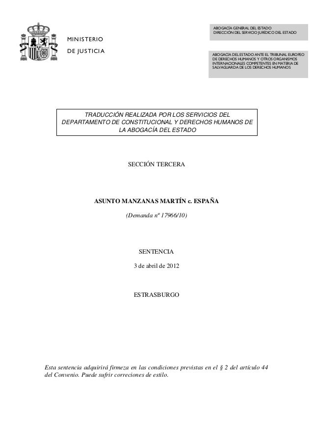 Case of manzanas martin v. spain  spanish translation
