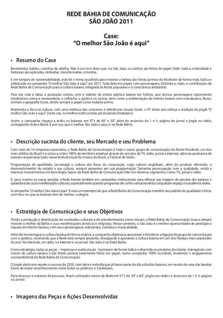 REDE BAHIA DE COMUNICAÇÃO                                              SÃO JOÃO 2011                                      ...