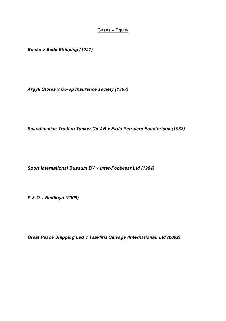 Cases – Equity<br />Benke v Bede Shipping (1927)<br />Argyll Stores v Co-op Insurance society (1997)<br />Scandinavian Tra...