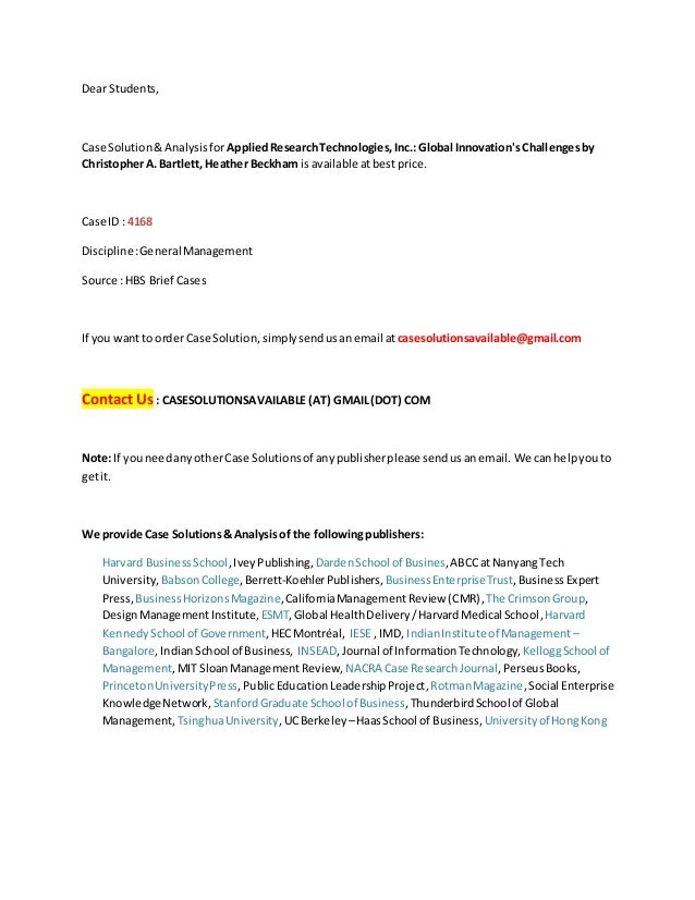 case study of applied research technologies Essay on applied business research case study 935 words | 4 pages organizations engage in the ever-changing global market after years of unscrupulous corporate.