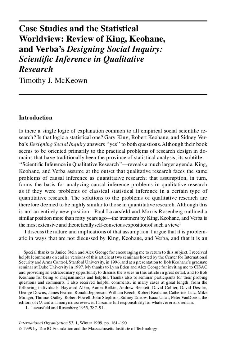 Case Studies and the StatisticalWorldview: Review of King, Keohane,and Verba's Designing Social Inquiry:Scienti c Inferenc...