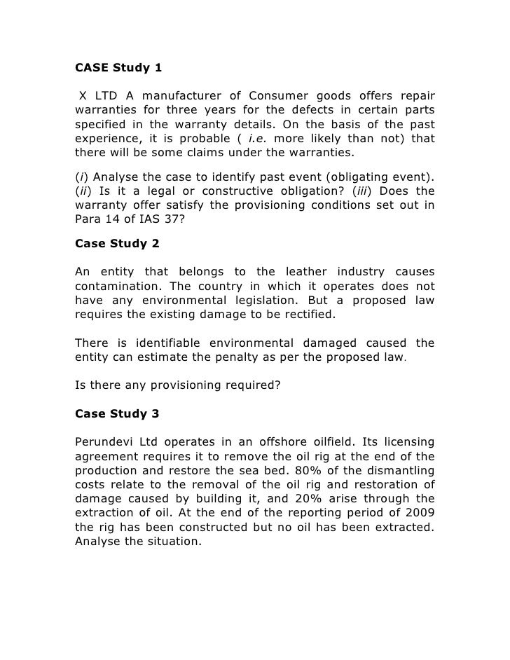 Case studies ias 37
